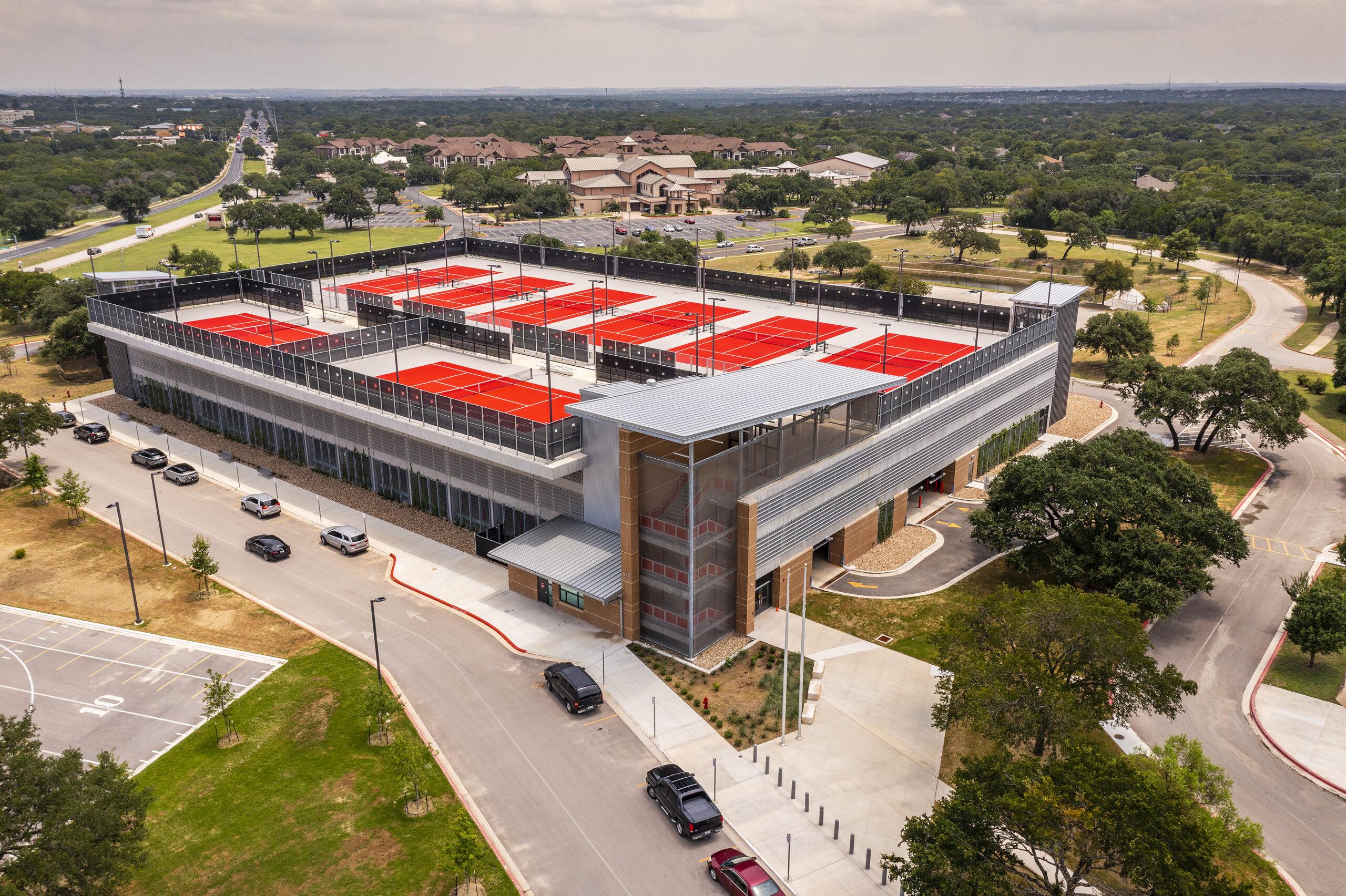 James Bowie H.S. Parking Garage & Tennis Courts – Aerials- – Austin, TX 080421